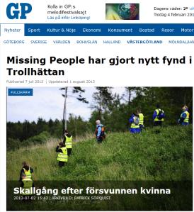 20130707 Missing People har gjort nytt fund i Trollhättan