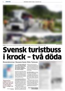20130813 - GP - Svensk turistbuss i krock - två döda blur