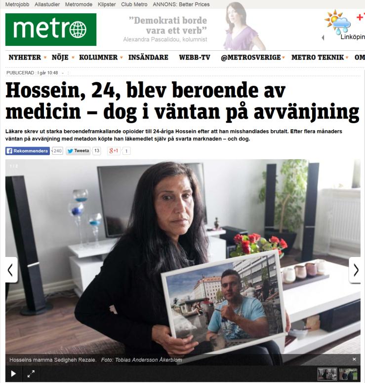 20140922 Hossein 24 blev beroende av medicin - dog i väntan på avvänjning