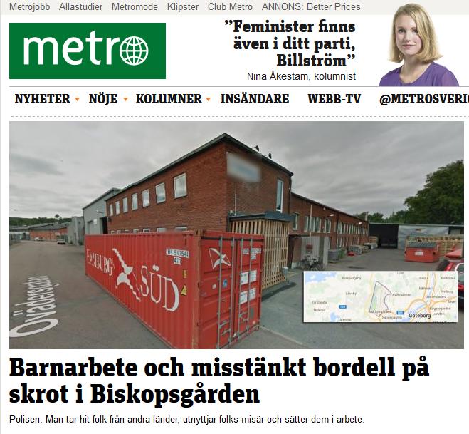 20140925 Barnarbete och misstänkt bordell på skrot i Biskopsgården