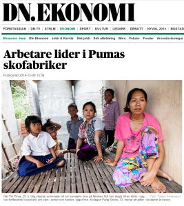20141210 DN EKONOMI - Arbetare lider i Pumas skofabriker