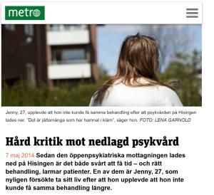 20140507 Hård kritik mot nedlagd psykvård